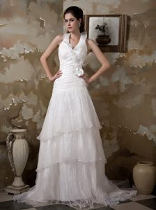 Elegant Halter Court Train and Organza Wedding Gown with Flower