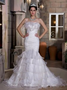Impressive Ruched and Ruffled and Organza Wedding Dress for Fall