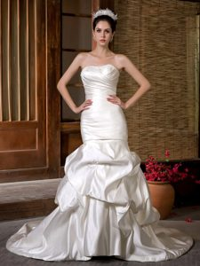 Attractive Mermaid Strapless Beaded and Ruched Wedding Dress for Spring