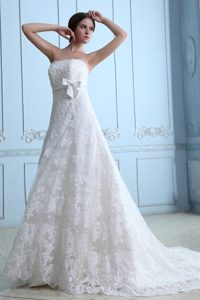 Modern Strapless Zipper-up Lace Wedding Reception Dress with Court Train