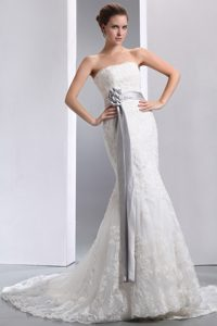 Romantic Court Train and Lace Zipper-up Dress for Brides with Sash