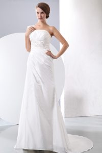 Classical One Shoulder Court Train White Bridal Gown with Appliques