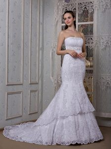 Gorgeous Mermaid Strapless Court Train and Lace Wedding Dress