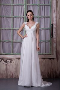 2013 Popular Empire V-neck Brush Train Lace-up Chiffon Dress for Wedding