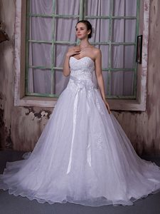 Exquisite Sweetheart and Organza Wedding Reception Dress for Fall