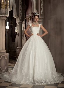 Sweet Lace-up Chapel Train Wedding Gown with Square Neckline under 250