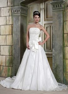 Elegant Strapless Organza Appliqued Summer Bridal Gown with Chapel Train
