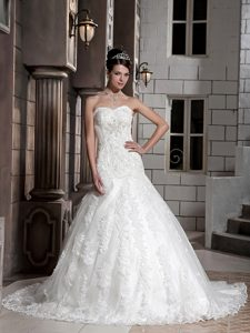 Luxurious Sweetheart Chapel Train Lace-up Wedding Dresses with Beading