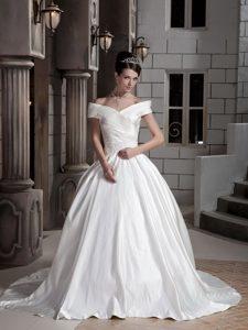 Unique Princess Off The Shoulder Court Train Wedding Dress with Ruches