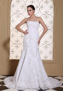 Romantic Spaghetti Mermaid Ruched and Beaded Fall Wedding Bridal Gown