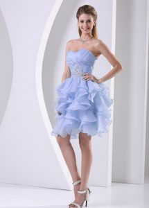Sweetheart Ruched Lilac Discount Cocktail Dress with Ruffles and Beading