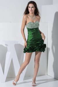Green Mini-length Low Price Cocktail Dresses with Beading