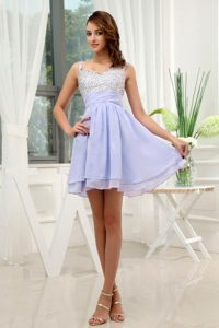 Straps Mini-length A-line Lilac Cocktail Gown Dress with Beading on Sale