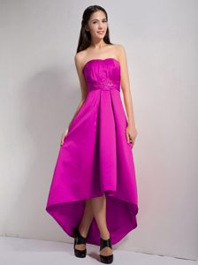 Fuchsia A-line Strapless Elegant High Low Cocktail Dresses with Appliques