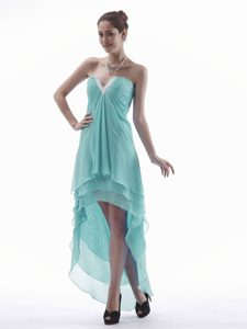 Elegant High-low Prom Homecoming Dress with V-neck and Ruching for Women