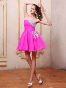Ruched Mini-length Prom Cocktail Dress with Appliques Decorated on Promotion