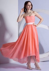 Chiffon High-low Prom Dress Sweetheart Neckline Prom Cocktail Dress for Cheap
