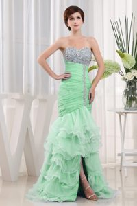 2013 Popular Green Beaded Sweetheart Prom Cocktail Dress with Ruffled Layers