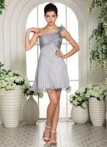 Grey Empire One Shoulder Ruched Organza Cocktail Dress for Celebrity for Girls