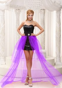 Lavender and Black High-low Prom Cocktail Dress with Paillette over Skirt on Sale