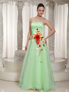 Colorful Beaded Organza Yellow Green Cocktail Dresses