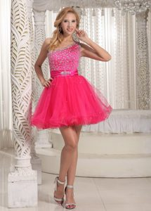 One Shoulder Beaded Mini-length Cocktail Dress for Celebrity on Wholesale Price