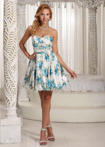 Luxurious Printed Colorful A-line Sweetheart Prom Cocktail Dress on Promotion