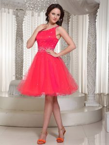 Beautiful Organza One Shoulder Prom Cocktail Dress with Lace-up Back on Sale
