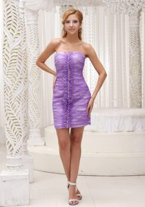 Lavender Ruched and Beaded Mini-length Prom Cocktail Dress for Cheap