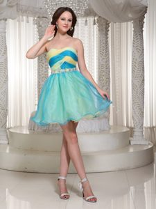 Beaded Colorful Mini-length Organza Prom Cocktail Dress with Ruching for Cheap