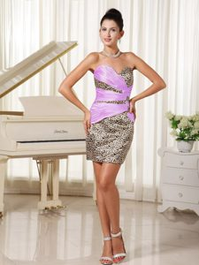 Simple Ruched Sweetheart Mini-length Leopard Prom Cocktail Dress on Promotion