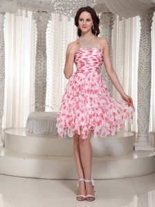 New Strapless Beaded and Ruched Knee-length Prom Cocktail Dress with Printing