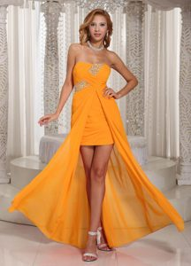 Wholesale High-low Beaded and Ruched Orange Homecoming Cocktail Dresses