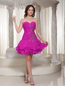 Beading Decorated Sweetheart Cute Hot Pink Short Prom Cocktail Dress for Cheap