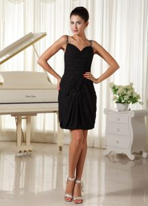 Beaded and Ruched Black Mini-length Cocktail Reception Dress for Custom Made
