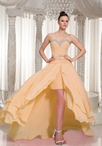 Attractive High-low Chiffon Beaded Cocktail Reception Dress on Wholesale Price