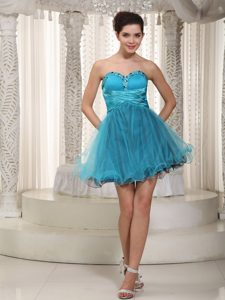 A-line Sweetheart Mini-length Tulle Cocktail Dress with Beading on Wholesale Price