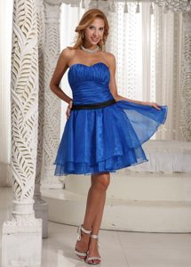 Elegant Ruched Sweetheart Blue Mini-length Cocktail Dress for Women for Cheap