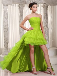 High-low Green Ruched Homecoming Cocktail Dress with Ruffled Layers on Sale
