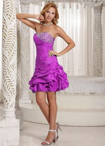 A-line Strapless Beaded Purple Cocktail Dress with Pick-ups on Promotion