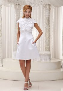 New High-neck White Ruffled and Mini-length Homecoming Cocktail Dress