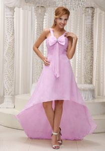 Baby Pink Beautiful High-low Ruched and Beaded Cocktail Dress with Bowknot