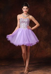Lavender Beaded Short A-line Tulle Backless Cocktail Dresses on Wholesale Price