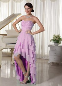 Pink Layered High Low Sweetheart Empire Beaded and Ruched Cocktail Dresses