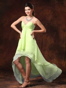 Yellow Green High-low Empire Chiffon Sweetheart Cocktail Dresses with Ruching