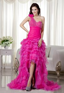 New Hot Pink A-line One Shoulder Organza Beaded Homecoming Cocktail Dress