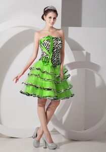 Zebra Spring Green A-line Strapless Layered Cocktail Dress for Celebrity for Cheap