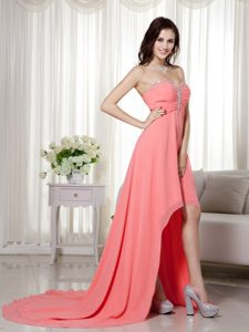 Empire Sweetheart High-low Chiffon Cocktail Dresses with Beading and Ruching