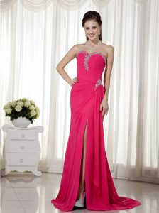 New Sweetheart Chiffon Beaded Cocktail Dress for Celebrity with High Slit