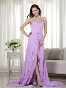 Lavender High Low Chiffon Sweetheart Beaded Cocktail Dress on Wholesale Price